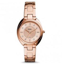 Fossil ES5070 Stelen dames horloge rosé plated met rosé wijzeplaat met steentjes