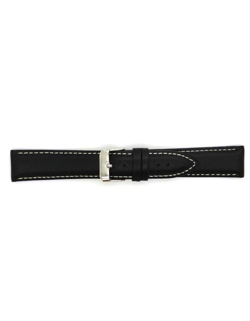BBS Horlogebanden 00073109_01_18_mm 18mm horlogeband leer zwart met wit stiksel en stalen gesp
