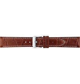 BBS Horlogebanden 00085999_07_18_mm 18mm horlogeband leer  bruin croco witte stiksels stalen gesp