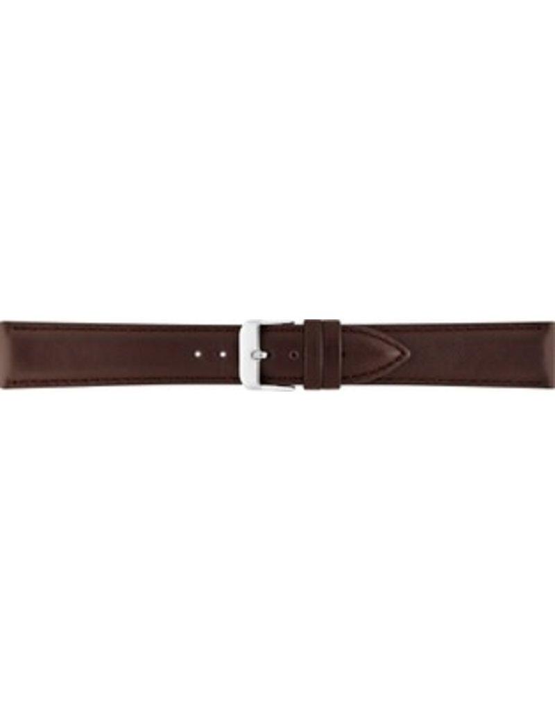 BBS Horlogebanden 00073111_03_18 18 mm 18 mm horlogeband leer bruin bruine stiksels stalen gesp