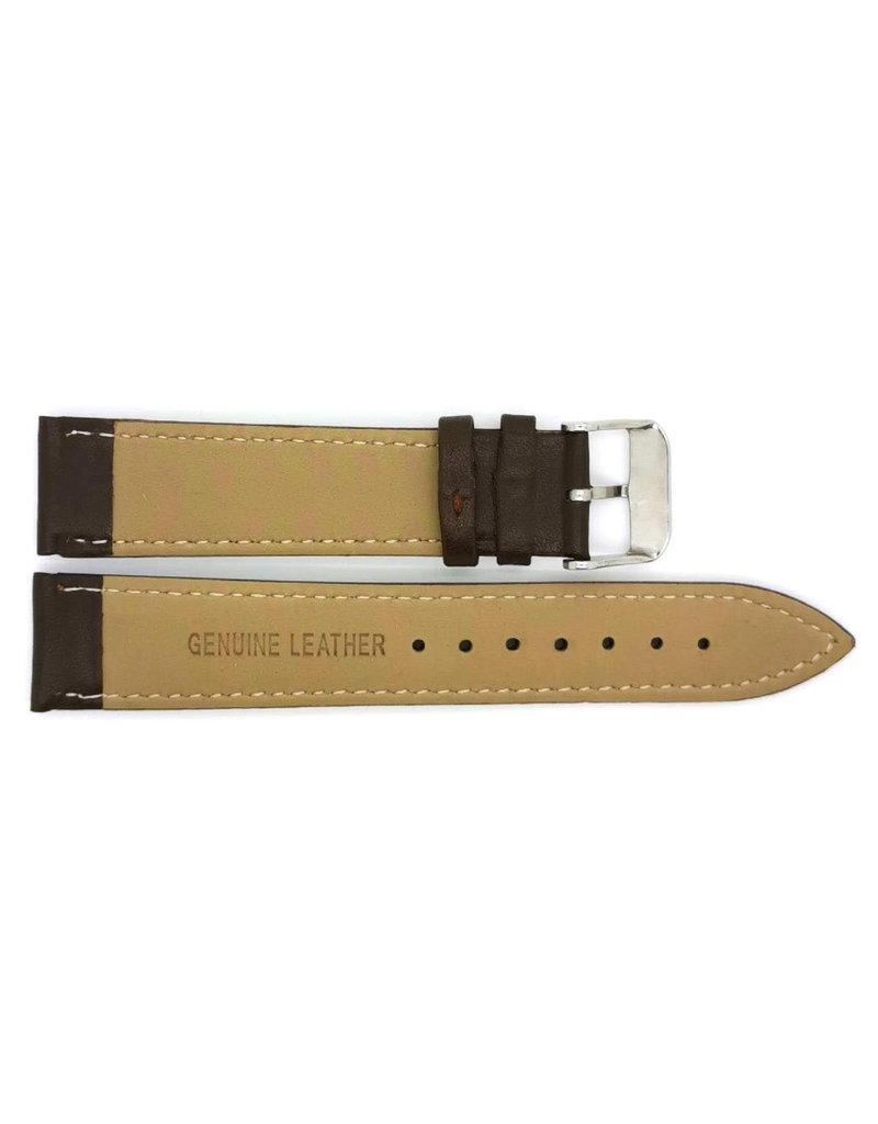 BBS Horlogebanden 00073109_03_18_mm 18 mm horlogeband leer bruin met wit stiksel stalen gesp