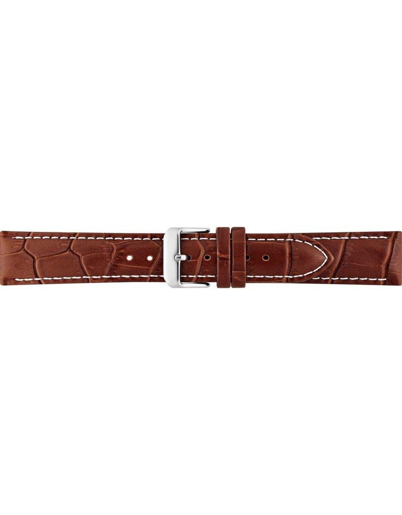 BBS Horlogebanden 00085999_01_20_mm  20 mm horlogeband leer bruin croco witte stiksel met goud kleurige gesp