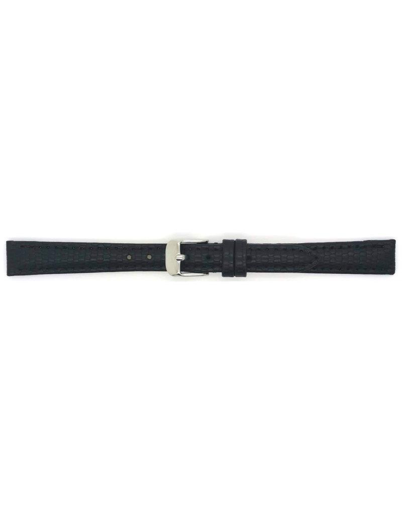 BBS Horlogebanden 00095099_01_14_mm 14 mm horlogeband leer zwart slangenprint stalen gesp