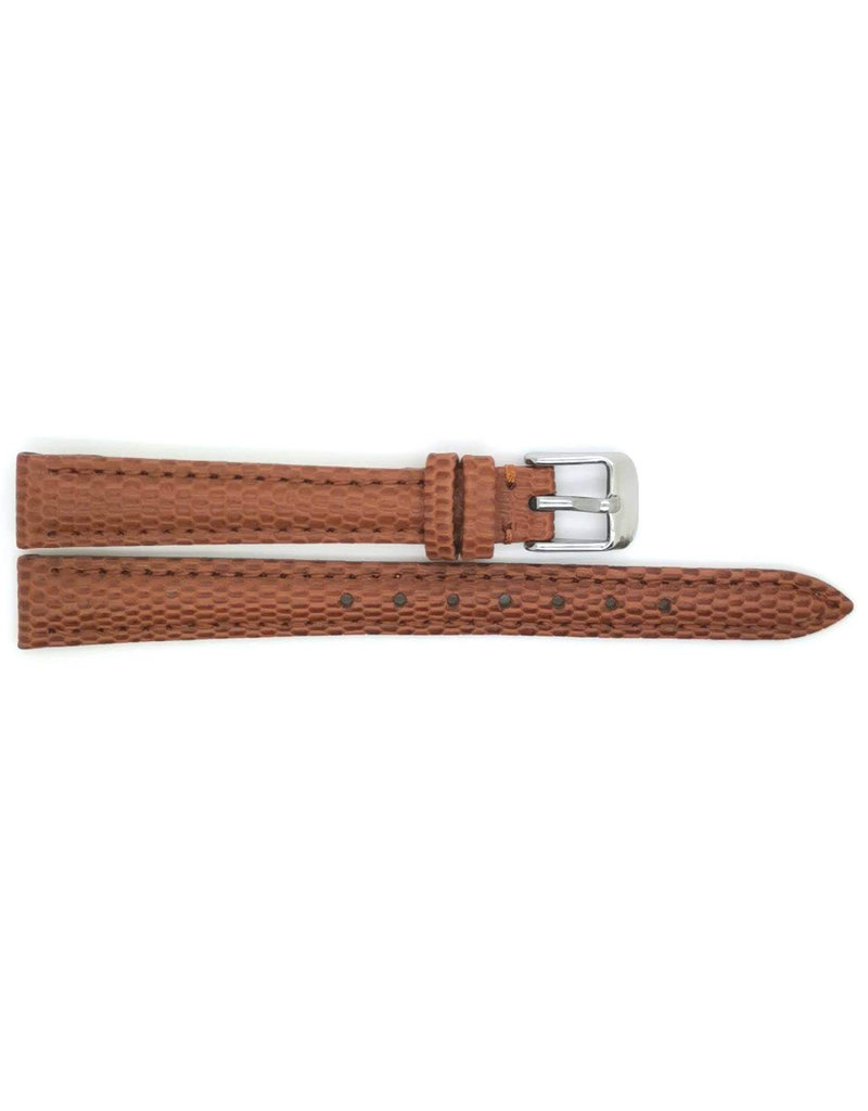 BBS Horlogebanden 00095099_07_14_mm 14 mm horlogeband leer bruin lizzard met stalen gesp