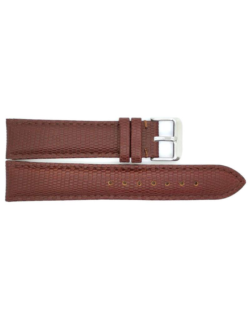 BBS Horlogebanden 00095099_03_14_mm 14mm horlogeband leer donkerbruin lizzard stalen gesp