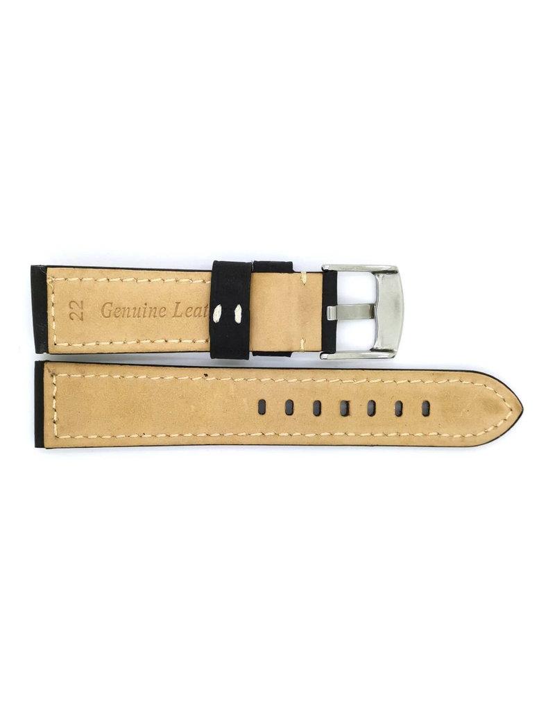 BBS Horlogebanden 00113009_01_22_mm 22 mm horlogeband leer zwart vintage katoenen stiksel s stalen gesp