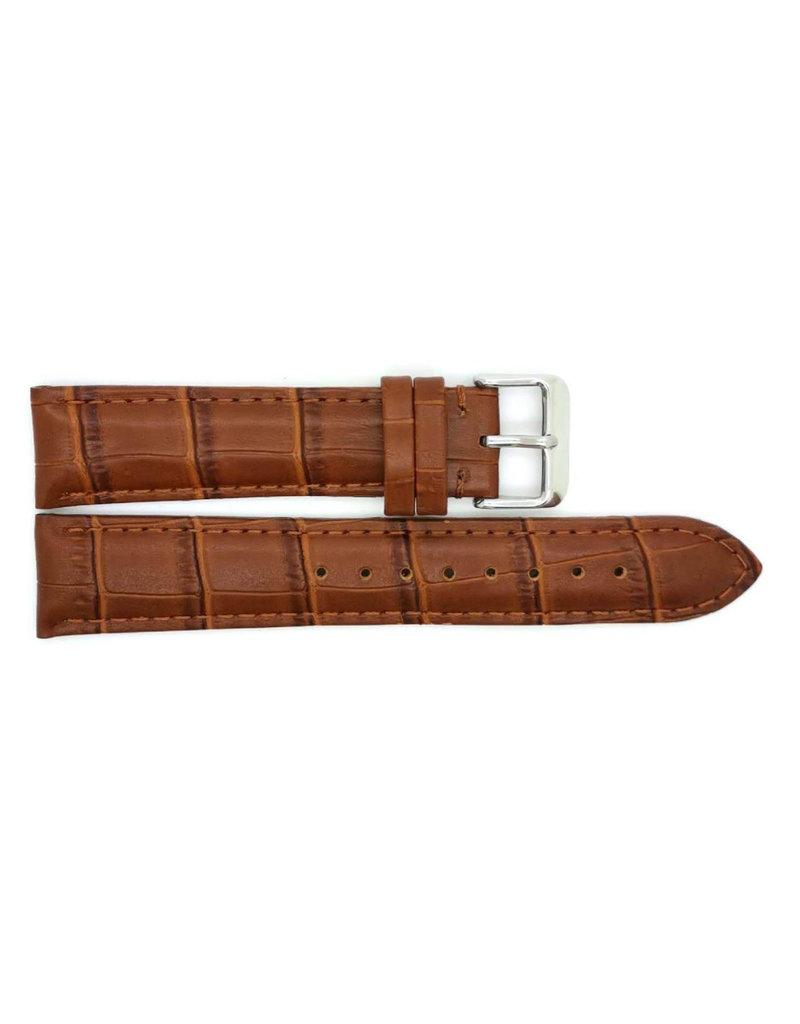 BBS Horlogebanden 00085930_07_22_mm 22 mm hologeband leer bruin croco stalen gesp