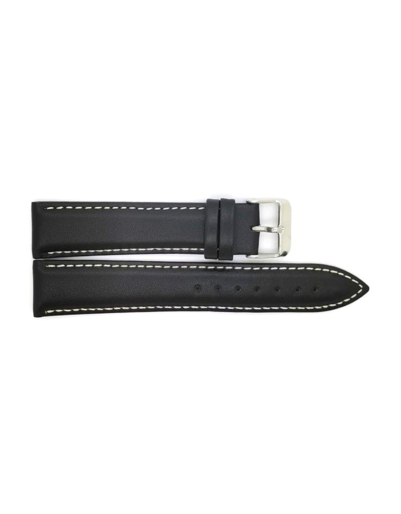 BBS Horlogebanden 00073109_01_24_mm 24 mm horlogeband leer zwart witte stiksels en stalen gesp