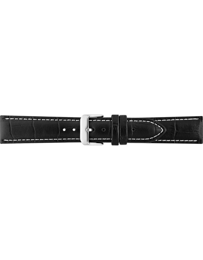 BBS Horlogebanden 00085999_01_24_mm 24 mm horlogeband leer zwart croco witte stiksels en stalen gesp