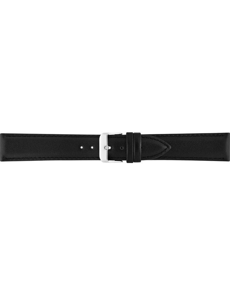 BBS Horlogebanden 00073111_01_24_mm 24 mm horlogeband leer zwart met stalen gesp