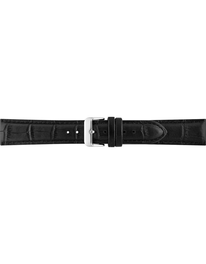 BBS Horlogebanden 00085930_01__24_mm 24 mm horlogeband leer croco zwart met stalen gesp