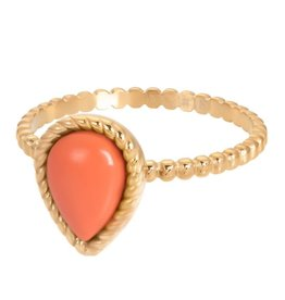 iXXXi R05906-01 ring staal mt 19 goud verguld magic coral