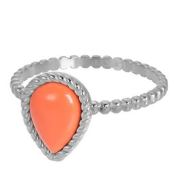 iXXXi R05906-03 ring staal mt 18 zilver Magic coral