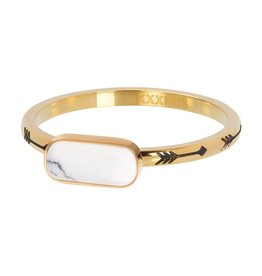 iXXXi R05914-01 ring staal mt 18 goud verguld Festival White
