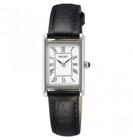 Seiko Seiko SWR053P1 horloge dames stalen kast zwart leren band en classic witte wijzerplaat