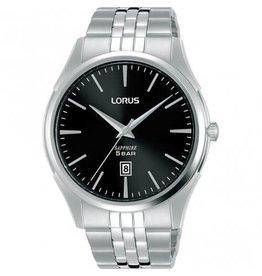 Lorus Lorus RH945NX9 horloge heren staal zwarte wijzerplaat saffier glas