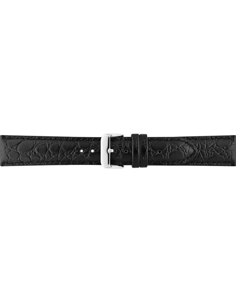 BBS Horlogebanden BBS 00086000_01_22_22_mm 22MM horlogeband zwart croco  stalen gesp