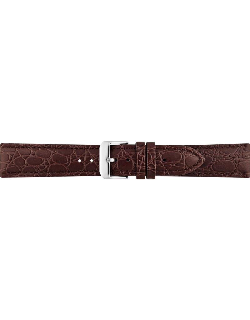 BBS Horlogebanden BBS 00086000_03_22_mm Horlogeband Bruin Crocodile Print 22MM