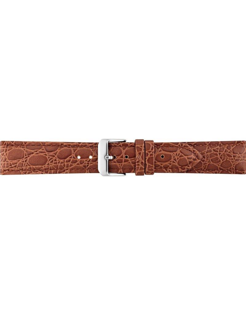 BBS Horlogebanden BBS 00086000_07_22_mm 22 mm horlogeband leer bruin croco  met stalen gesp