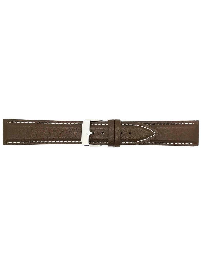 BBS Horlogebanden BBS 00073109_03_22_mm 22 mm horlogeband leer glad bruin / witte stiksels stalen gesp