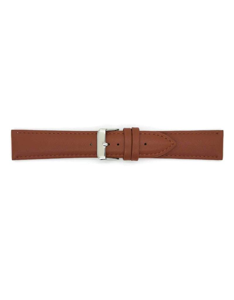 BBS Horlogebanden BBS 00073111_07_22_mm 22 mm horlogeband glad  bruin met stalen gesp
