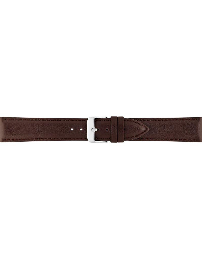 BBS Horlogebanden BBS 00073111_03_22_mm horlogeband leer bruin glad met stalen gesp