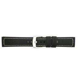 BBS Horlogebanden BBS 00113009_01_20_mm 20 mm horlogeband leer zwart vintage katoenen stiksels stalen gesp