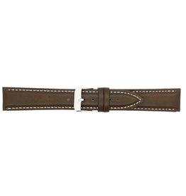 BBS Horlogebanden BBS 00073109_03_20_mm  20 mm horlogeband leer bruin  witte stiksels stalen gesp