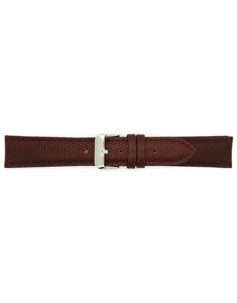 BBS Horlogebanden BBS 00095099_03_20_mm 20 mm horlogeband leer bruin lizzard stalen gesp