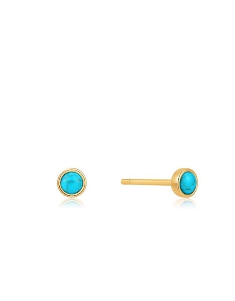 ANIA HAIE JEWELRY Ania Haie AH E027-99G oorbellen verguld met turquoise steen