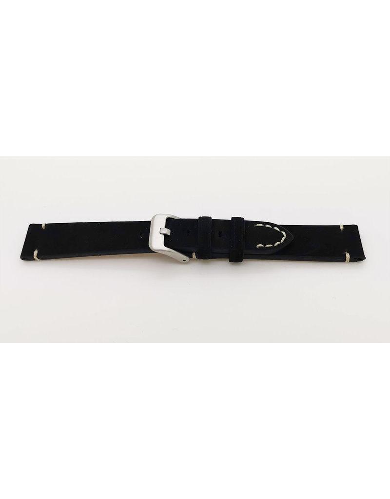 BBS Horlogebanden BBS 00067609_01_22 horlogeband Suede Calf Black 22MM