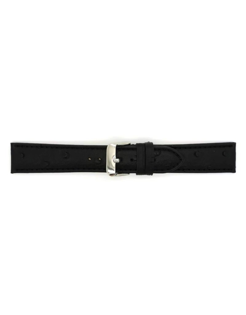BBS Horlogebanden BBS 00112000_01_18_mm Horloge band zwart Leer Calf 18MM