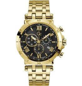 GC GC Y44006G2MF Horologe heren Sport Chic staal gold plated met stalen goldplated band, zwarte wijzerplaat chronograaf