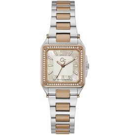 GC GC Y85002L1MF Horloge dames Sport Chique Staal / rosé plated met mother of pearl wijzerplaat met rosé accenten en Swarovski steentjes