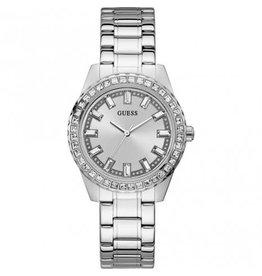 Guess Guess GW0111L1 horloge dames staal met stalen band en zilveren wijzerplaat met zirconia