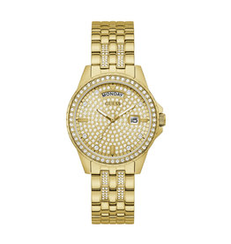 Guess Guess GW0254L2 horloge dames staal goldplated met idem band en zirconia