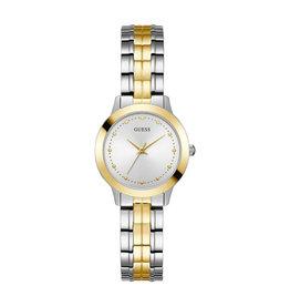 Guess W0989L8 horloge dames staal bi-color met idem band en zilveren wijzerplaat met gouden accenten