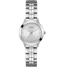 Guess W0989L1 horloge dames staal met stalen band en zilveren wijzerplaat