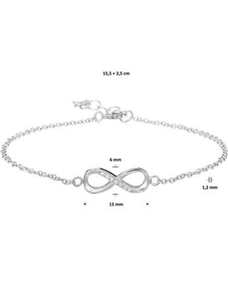 Blinckers Jewelry Huiscollectie BJ 1327132 Armband zilver infinity teken met zirkonia lengte 15.5 tot 18.5