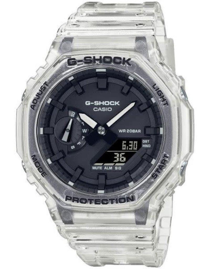 Casio Casio GA-2100SKE-7AER G-Shock uniseks  horloge transparant  zwarte wijzerplaat