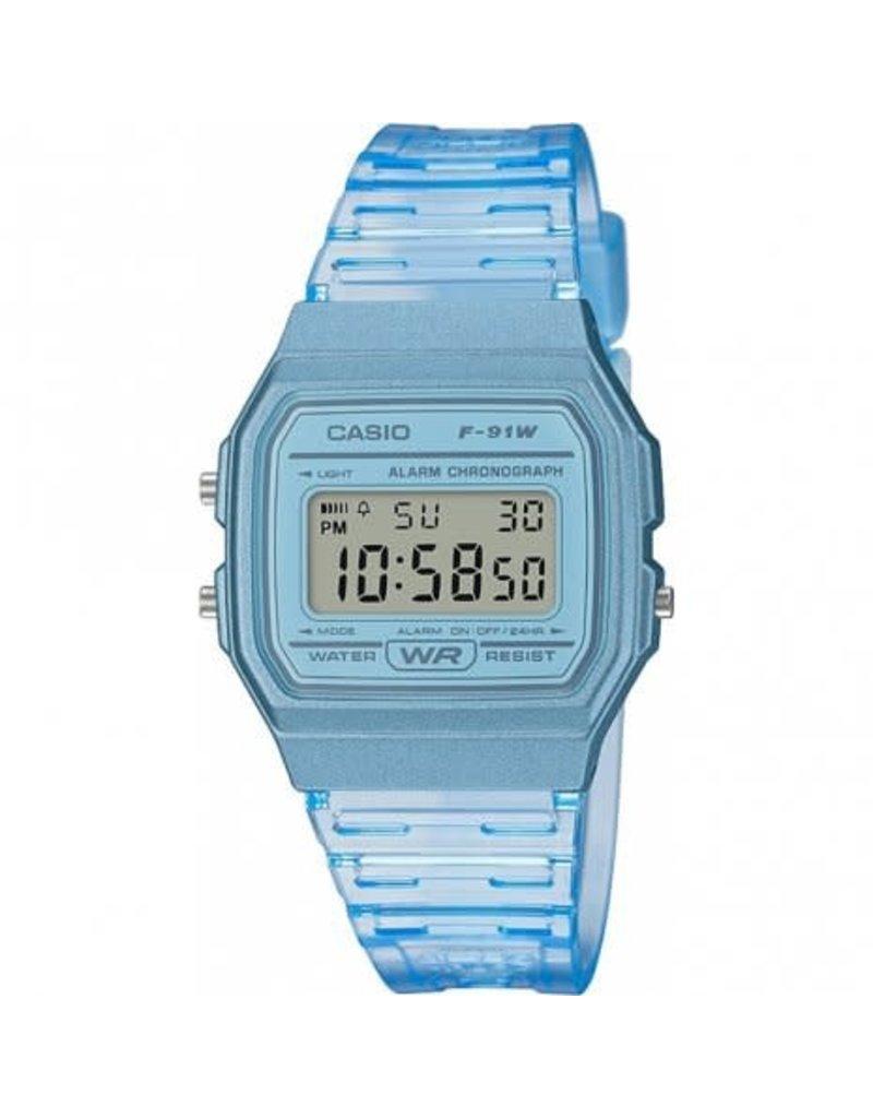 Casio Casio F-91WS-2EF Dames horloge digitaal blauw transparant