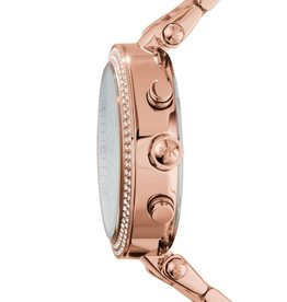 Michael Kors Michael Korse MK5491 horloge dames staal rose plated met zirkonia en witte wijzerplaat