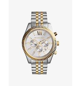 Michael Kors Michael Korse MK8344 horloge dames staal bi-color chrono met witte wijzerplaat en gouden accenten
