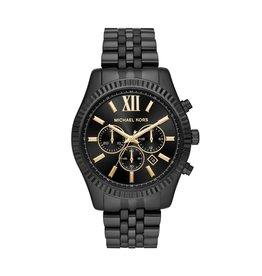 Michael Kors Michael Korse MK8603 Horloge staal zwart plated chronograaf, zwarte wijzerplaat met gouden accenten