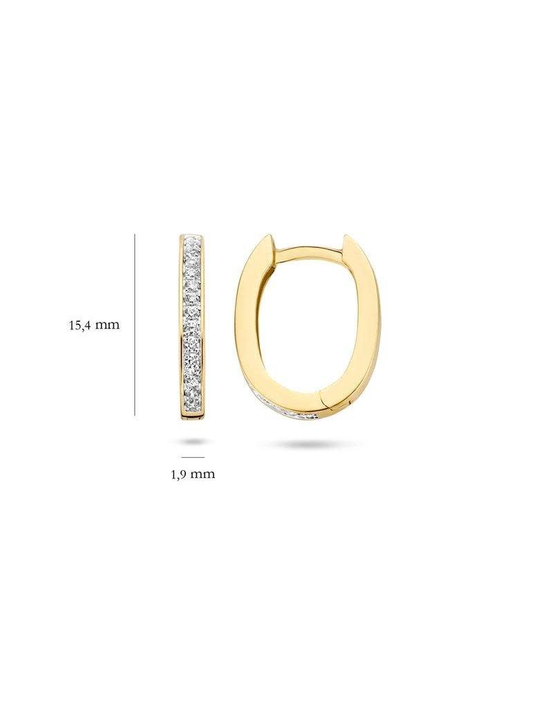Blush Blush 7234BZI Creool goud ovaal met gezette zirconia's