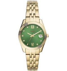 Fossil Fossil ES4903 horloge dames staal  goldplated met groen sunray wijzerplaat