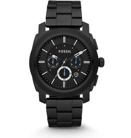Fossil Fossil FS4552 Horloge heren staal chrono met zwart pvd coated kast en idem band