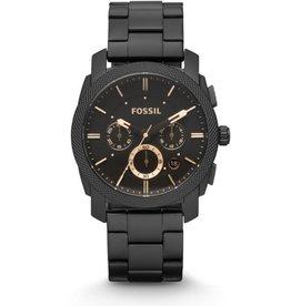 Fossil Fossil  FS4682IE horloge heren staal met zwarte PVD coating , zwarte wijzerplaat rose gouden accenten en donker glas