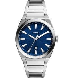 Fossil Fossil FS5822 horloge heren staal en stalen band  met blauwe wijzerplaat