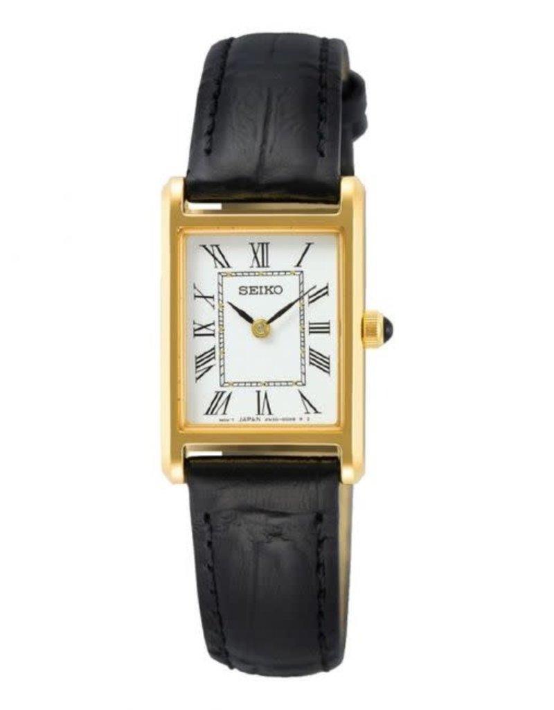 Seiko Seiko SWR054P1 horloge dames goldplated met zwarte croco band
